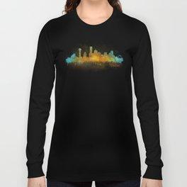 Dallas Texas City Skyline watercolor v03 Long Sleeve T-shirt
