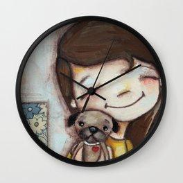 Pug Hug by Diane Duda Wall Clock