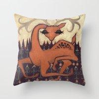 antler Throw Pillows featuring Antler Deer by Jennifer Leedy Steiner