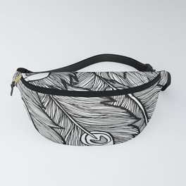 Black & White Peacock Feathers Fanny Pack