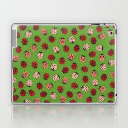 All over Modern Ladybug on Green Background Laptop & iPad Skin