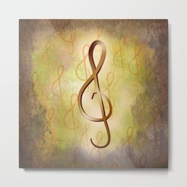Treble Clef Music Symbol Metal Print