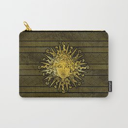 Apollo Sun Symbol on Greek Key Pattern Carry-All Pouch