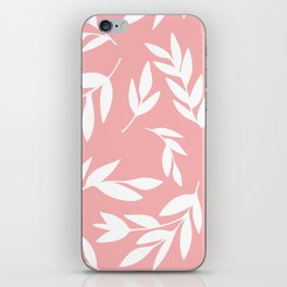 White simple leaves on pink iPhone Skin