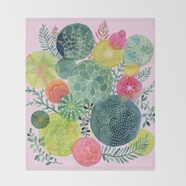 Succulent Circles on Pink Throw Blanket