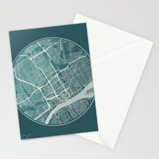 Detroit Map Planet Stationery Cards