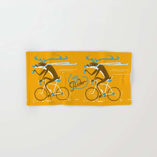 Easy Rider // (cycling hipster deer) Hand & Bath Towel