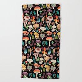 Mushroom heart Beach Towel