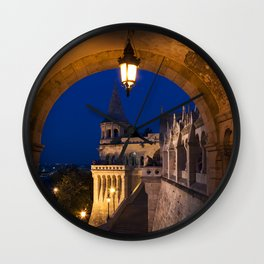 Castle Budapest- blue hour Wall Clock