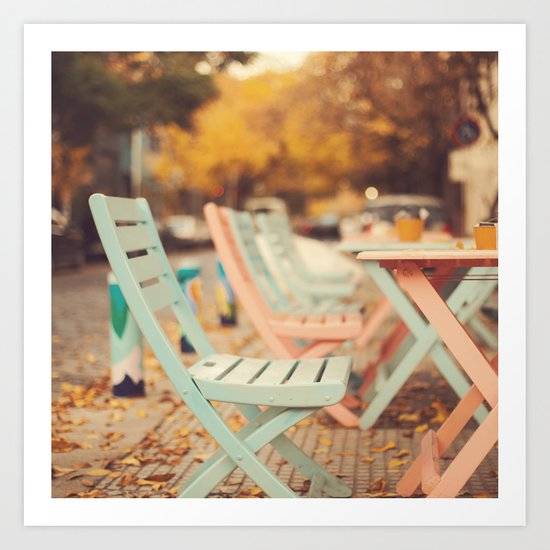 Dream Autumn (Pink and blue coffee shop chairs on retro and vintage fall) Art Print