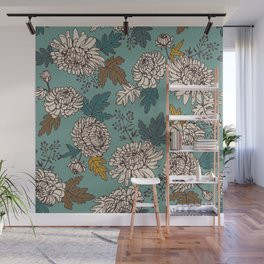 Turquoise flowers Wall Mural