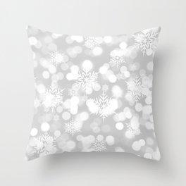 Christmas Snowflakes Bokeh Silver Pattern Throw Pillow