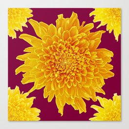 Golden Yellow Chrysanthemums Burgungy Art Design Canvas Print