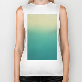 Modern turquoise lime green ombre color block pattern Biker Tank
