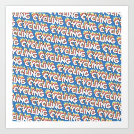 Cycling Trendy Rainbow Text Pattern (Blue) by thelightfield