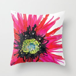 Daisy Red Throw Pillow