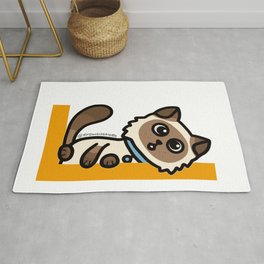 Cute Cat Peek a Boo Says, Stay At Home - Hey you, Stay Home - Siamese Birman Cat - mydoodlesateme Rug