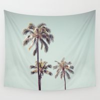 palm trees Wall Tapestries featuring palm trees by noirblanc777