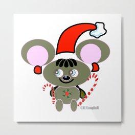 """""""Christmas Mouse"""" Metal Print"""