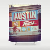 austin Shower Curtains featuring Austin, Texas by Wolf Feather