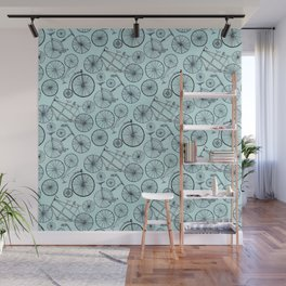 Monochrome Vintage Bicycles On Soft Blue Wall Mural