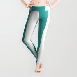 Wide Vertical Stripes - White and Verdigris Leggings