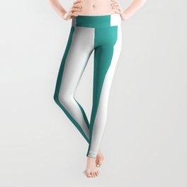 Wide Vertical Stripes - White and Verdigris Leggings