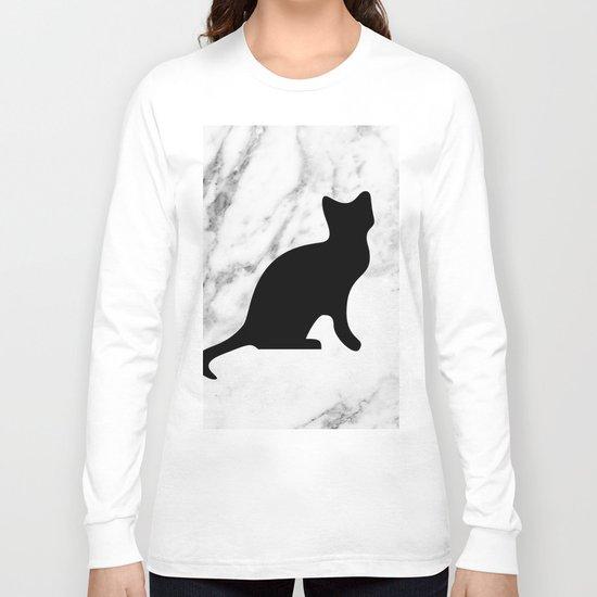 Marble black cat Long Sleeve T-shirt
