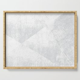 White and Gray Lino Print Texture Geometric Serving Tray
