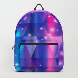 Blue Pink and Purple Mosaic Geometric Cosmic Pieces Backpack