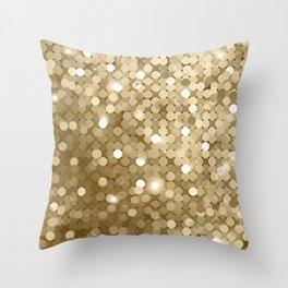 Gold glitter texture Throw Pillow