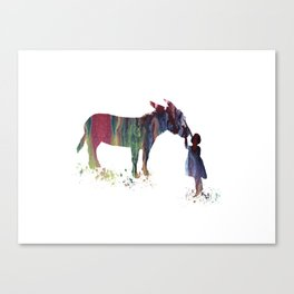 donkey and child art Canvas Print