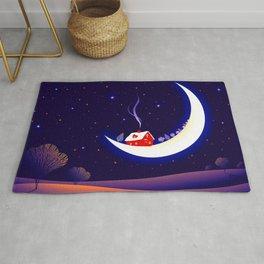 Awesome Lovely Fairytale Frosty Landscape On Moon Sickle Dreamy Star Sky UHD Rug