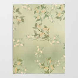 Sage Green Watercolor Woodland Leaves Poster