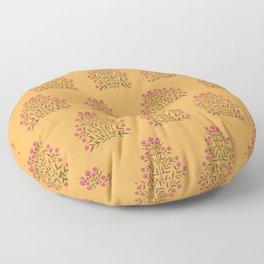 Indian Floral Motif Pattern - Pink & Saffron Floor Pillow