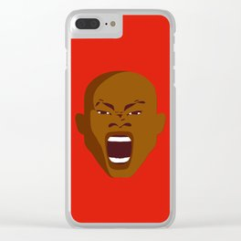 brown man screaming face art red Clear iPhone Case