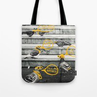 gangster Tote Bags featuring Gangster Pigeons by Wonder of Wild