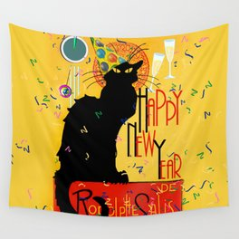 Chat Noir New Years Party Countdown Wall Tapestry