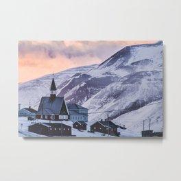 Orange sunset in Svalbard Metal Print