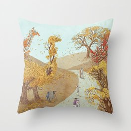 The Night Gardener - Autumn Park Throw Pillow