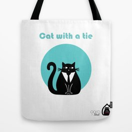 """""""Cat with a tie"""" by Qora & Shaï Tote Bag"""