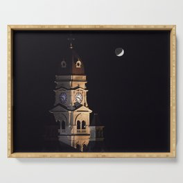 Crescent moon and earth shine at city hall clock tower Serving Tray