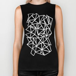 Abstract Outline Thick White on Black Biker Tank