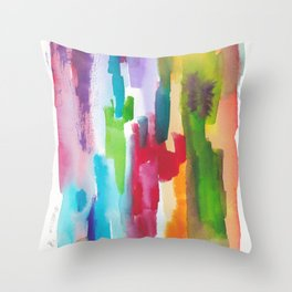 180812 Abstract Watercolour Expressionism 3| Colorful Abstract | Modern Watercolor Art Throw Pillow