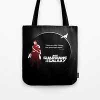 guardians of the galaxy Tote Bags featuring Guardians of the Galaxy by Limited Motion
