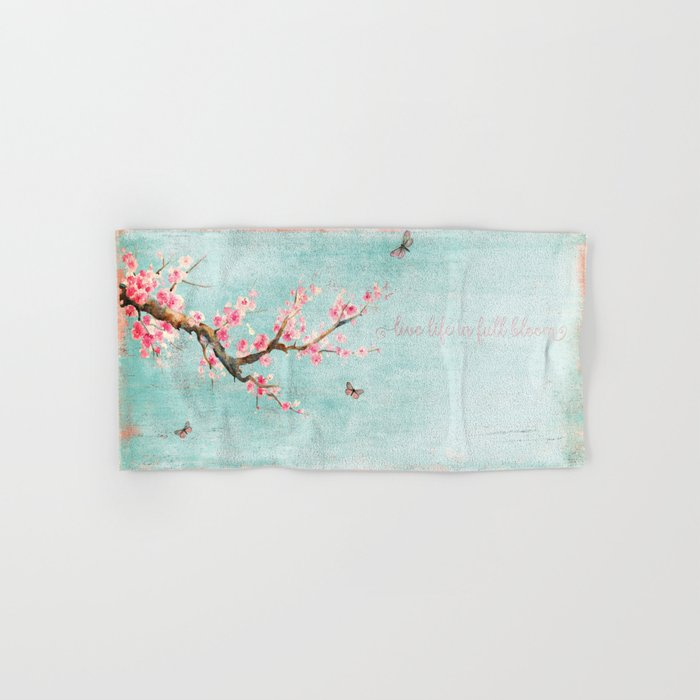 Live life in full bloom - Romantic Spring Cherry Blossom butterfly Watercolor illustration on aqua Hand & Bath Towel