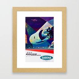 Fly Boeing Intercontinental - SABENA 1960s Vintage Travel Poster Framed Art Print