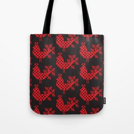 bird peacock Ornament of folk embroidery, red contour on black background Tote Bag