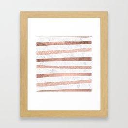 Modern faux rose gold glitter foil marble stripes pattern Framed Art Print