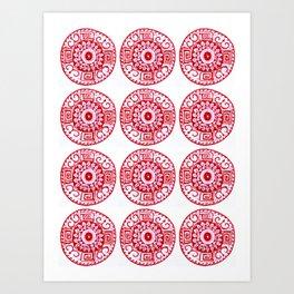 ethnic pattern red Art Print